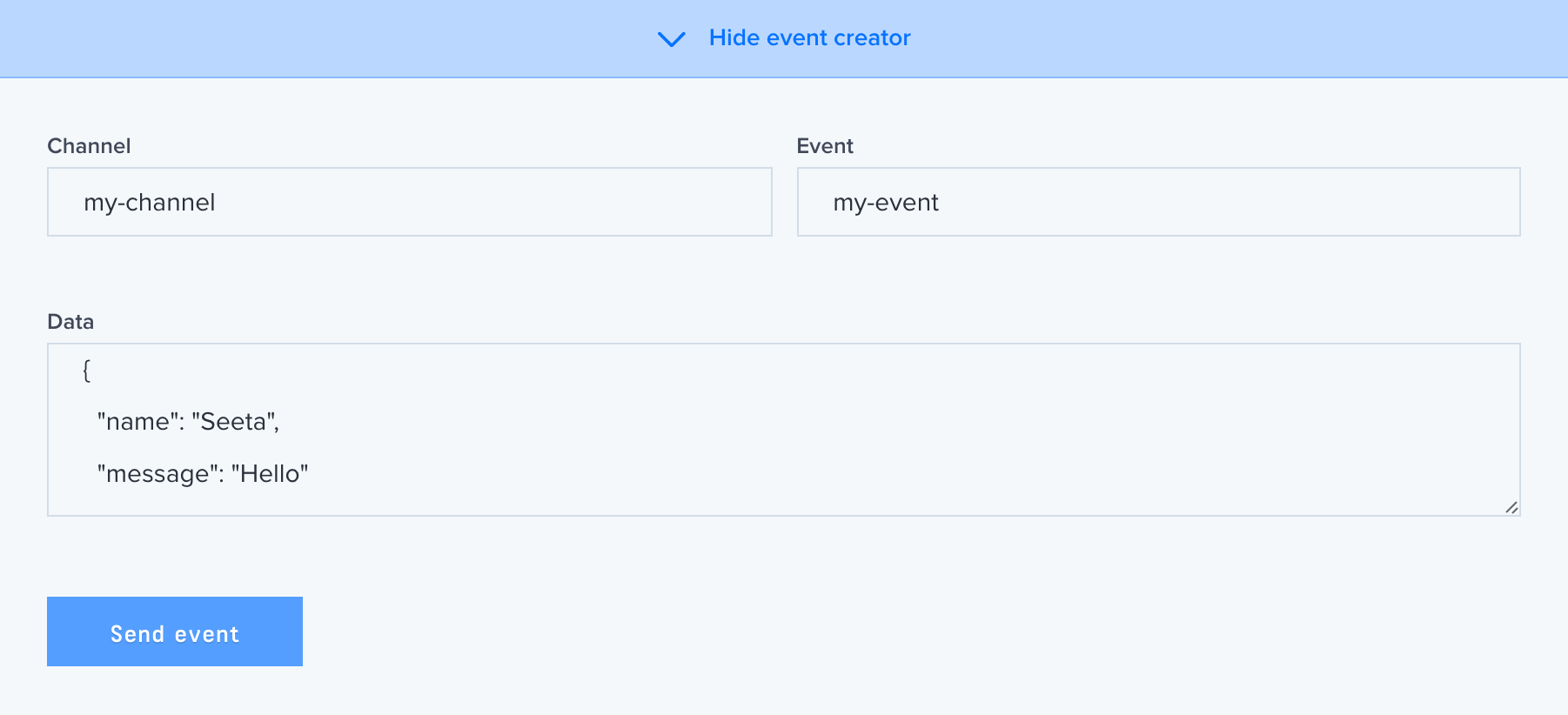 A screenshot of the debug console event creator within the Pusher dashboard